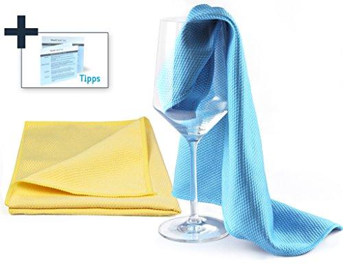 YouniClean 2 Stück 40 x 60 cm XL Profi Glaspoliertücher Microfaser/blau-gelb + 4-seitige Polier-Anleitung inkl. Premium-Wäschenetz zur schonenden Reinigung der Tücher (gratis)