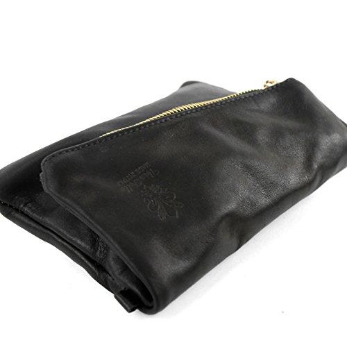 Schwarz Handgelenktasche de Damentasche Nappaleder kleine Ledertasche modamoda ital T95 aZqwSxA