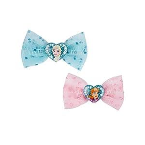 SIX Kids 2er Set Disney Frozen Haarspangen, Haarklammern, Haarschmuck, Karneval, Kostüm, Eiskönigin, Tüllschleife, ELSA, Anna, rosa, blau (304-485)