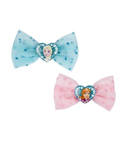 SIX Kids 2er Set Disney Frozen Haarspangen, Haarklammern, Haarschmuck, Karneval, Kostüm, Eiskönigin, Tüllschleife, ELSA, Anna, rosa, blau ()