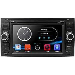 Argento Android Autoradio per Ford GPS Navigatore CAMECHO Touch Screen capacitivo da 7 pollici Autoradio WIFI Bluetooth FM Dual USB per Ford Focus Mondeo C-MAX S-MAX Galaxy II Kuga