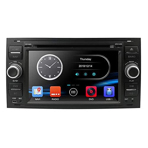 Black 7 Zoll 2 Din Autoradio Moniceiver DVD GPS Bluetooth Navigation für Ford C-Max/Connect/Fiesta/Focus/Fusion/Galaxy/Kuga S-Max/Transit/Mondeo Schwarz Ford Gps