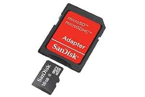 SanDisk microSDHC 16GB Class 4 Speicherkarte (inkl. microSD zu SD Adapter)