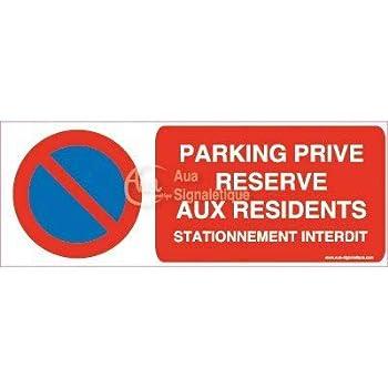 Vinyl adh/ésif AUA SIGNALETIQUE 75x105 mm Panneau Stationnement Interdit propri/ét/é priv/ée-AI