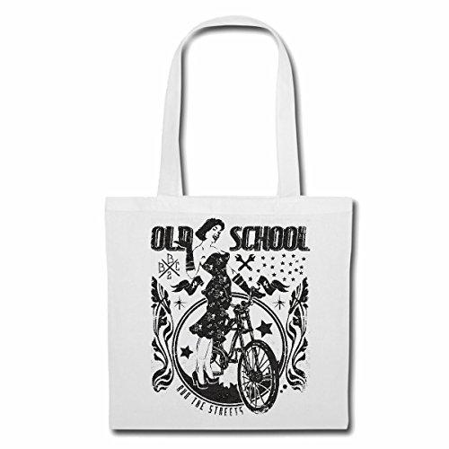 sac à bandoulière OLD SCHOOL BICYCLE RETRO LADIES BIKE RACING TOUR VTT Cyclo VTT RÉPARATION CYCLISME SPORT BIKE TOUR VELO SHIRT Sac Turnbeutel scolaire en blanc