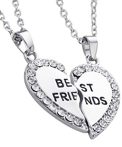 *Veuer Mädchen Silber Schmuck süße Freundschaftskette 2 Ketten Best Friends Herz Puzzle Friend Geschenk zu Weihnachten für Frauen , Freundin , Ehe-Frau*