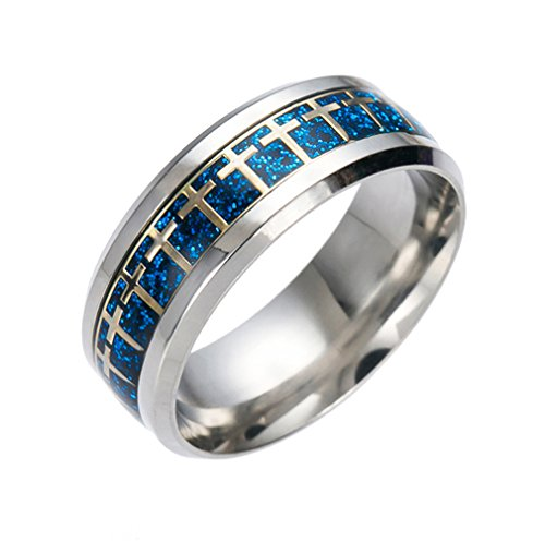 Smile YKK Edelstahl Ring Damen Herren Fashion Fingerring Partnerring Freundschaftsring Blau-Gold 8