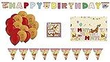 ALMACENESADAN 2582; Winnie l'ourson décoration Pack; composé d'une Nappe en Plastique de 120 x 180 cm; 20 Serviettes de Table; Guirlande Joyeux Anniversaire; fanions (3,60 mètres) et 16 Ballons