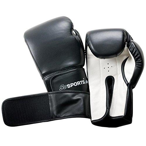 ScSPORTS Boxhandschuhe mit hohem Tragekomfort, Training Gloves für Boxen und Kampfsport, Box-Handschuhe 14 oz, schwarz weiß