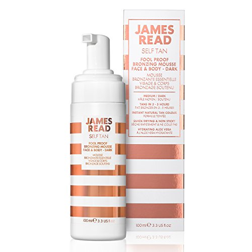 JAMES READ Fool Proof Bronzing Mousse for Face & Body - Dark 100ml Instant Self Tan Deep Bronze Tinted Fast Drying Formula Perfect for First Time Tanners Develops in 6-8 Hours Lasts up to 7 Days