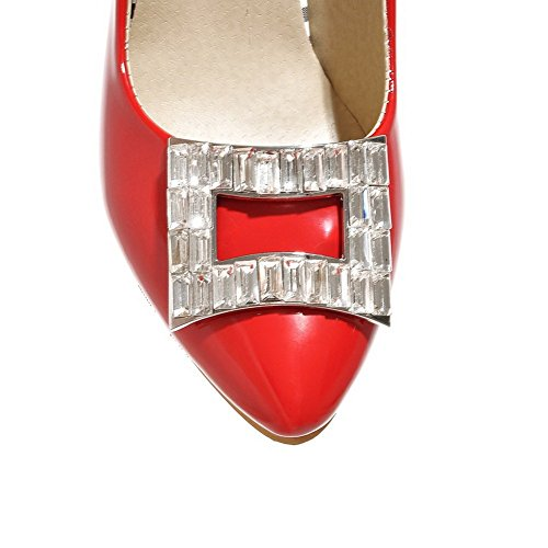 Adee Mesdames strass spikes-stilettos polyuréthane Pompes Chaussures Rouge - rouge