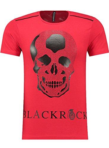 Kostüme Red Sexy Queen (BlackRock Herren T-Shirt Slim Fit Totenkopf Skull Bones Adler - 71316 - RED)