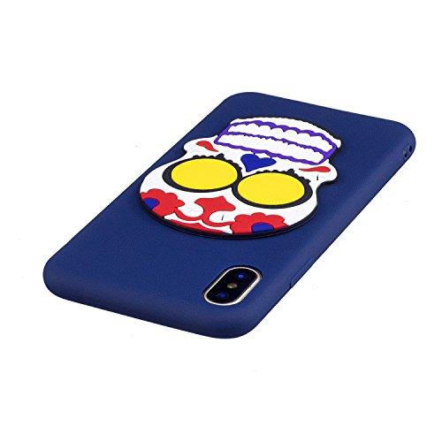 Cover Custodia la iPhone X / iPhone 10 silicone,Vandot 3D Creativo Cute Cartoon Animale Bulldog Copertura Elegante e Leggera Custodia Ultra Slim Modello TPU Gel Silicone flessibile Protettivo Skin Pro Cute 10