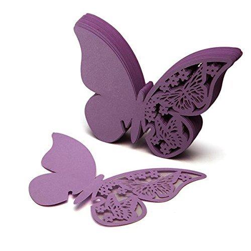 Facilla 50Karte Namen Marke Platz Schmetterling aus Papier violett Deko Glas Kuchen Hochzeit
