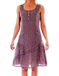Kleider Leinen ärmellos mit schönen Details Sommerkleid