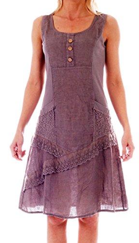 CHARIS MODA Kleider Leinen rmellos mit schnen Details Sommerkleid (40, Fango Beige mit Knpfen)