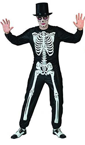 änner Halloween Karneval Kostüm Set Skelett, Sugar Skull, Day of Death , L, Schwarz (Sugar Skull Halloween Kostüm Für Männer)