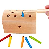 Meiyaa Wooden Magnetic Catching Insect Worms Game Box Fishing Game Toys Early Educational Baby Training Toy (A)