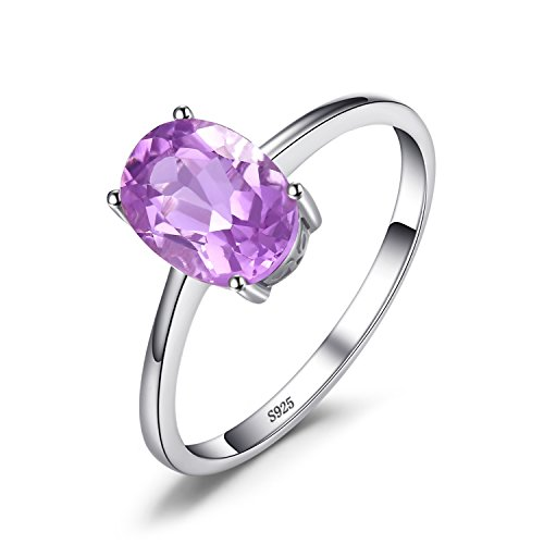Jewelrypalace ovale 1.1ct naturale viola ametista birthstone solitario anello solido 925 sterling argento 11.5