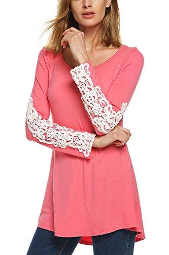 Damen Mit Langen Ärmel - T - Shirt - Spitzen Patchwork - Tops Pink