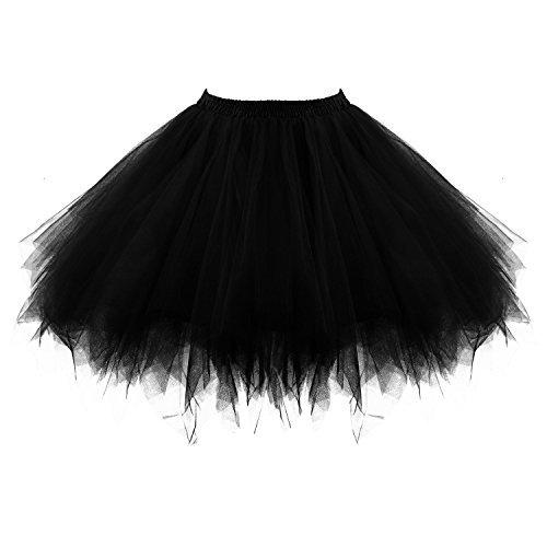 Schwarz Ballerina Kostüm - Honeystore Damen's Tutu Unterkleid Rock Abschlussball Abend Gelegenheit Zubehör Schwarz