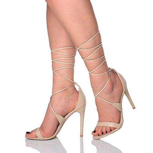 Donna tacco alto appena malapena là cinghietti allacciare sandali scarpe taglia Nudo opaco