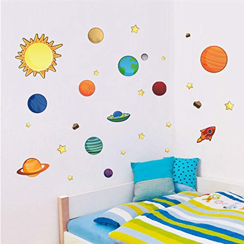 Asade Solar System Planets Moon Wall Decals Kids Gift Bedroom Decorative Stickers Cartoon Mural Art Nursery Boys Posters DIY - Kürbis-system