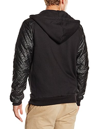 Urban Classics Herren Kapuzenpullover Diamond Leather Imitation Sleeve Zip Hoody Schwarz (blk/blk 17)