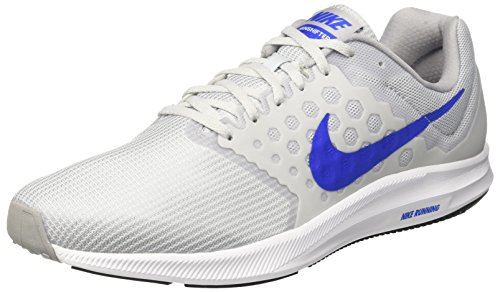 Nike Downshifter 7, Chaussures de Course Homme, Red 648 Argent (Pure Gris Platinum/Hyper Cobalt-Wolf Grey-White)