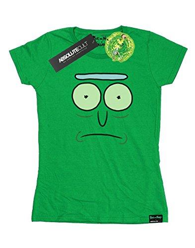 Absolute Cult Damen Rick and Morty Pickle Rick Face T-Shirt Irish Grün