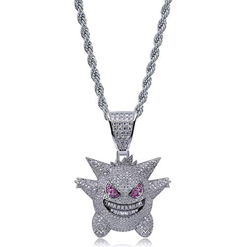 Jiaxingo Pokemon Halskette Hip Hop Iced Out Strass Kristall Halskette Diamant Halskette mit 24