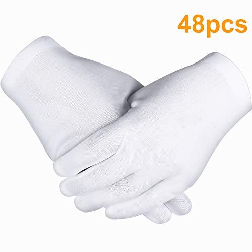 Preisvergleich Produktbild Zhehao 24 Paar Weiße Handschuhe,  Baumwoll Handschuhe,  Münzen Schmuck Silber Inspektion Handschuhe,  Dehnbare Futter Handschuhe (48 Stücke)
