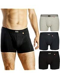 Boxer da uomo, confezione da 3 o 1, cotone elasticizzato ultra morbido, intimo taglio classico, vestibilità e comfort superiore, mutande multipack, performance cool, nero, grigio, blu scuro