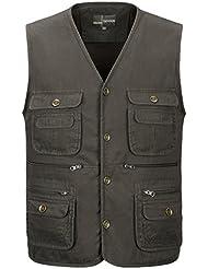 Vcansion Men's Pure Color Cotton Fishing Photography Multi Pockets Vest