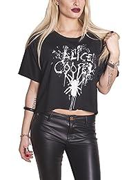 Alice Cooper damen T Shirt Schwarz Spider Splatter Glow Ink offiziell Boxy fit