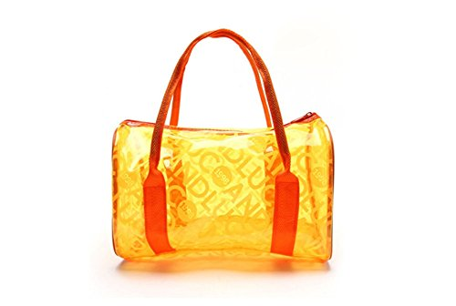 westeng Fashion da donna ragazza superficie in PVC trasparente frontespizio spiaggia nuoto impermeabile Borsetta Borsa a tracolla Orange-1