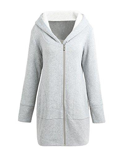 Romacci Women Zip up Hoodies Coat Warm Fleece Coat Outerwear Hooded Sweatshirts Casual Long Jacket Plus Size