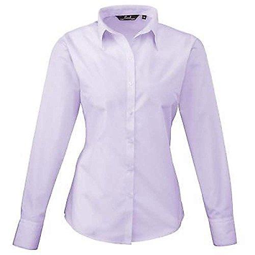 ZEARO Damen Bluse Business Hemd Weicher Kragen Lange Ärmel Shirt Größe 36 38 40 42 44 46 48 50 52 54 Hell-Violett