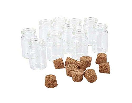 mini klar Glas Wishing Flasche ätherisches Öl Gläser Flakon Container Halter mit Korkverschluss für Arts & Crafts Nachricht farblos ()