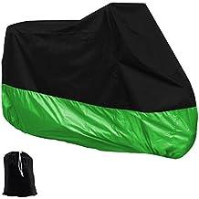 XXL Cubierta para Motocicleta Funda para Motos Impermeable Resistente a Intemperie al Aire Libre - Negro y verde