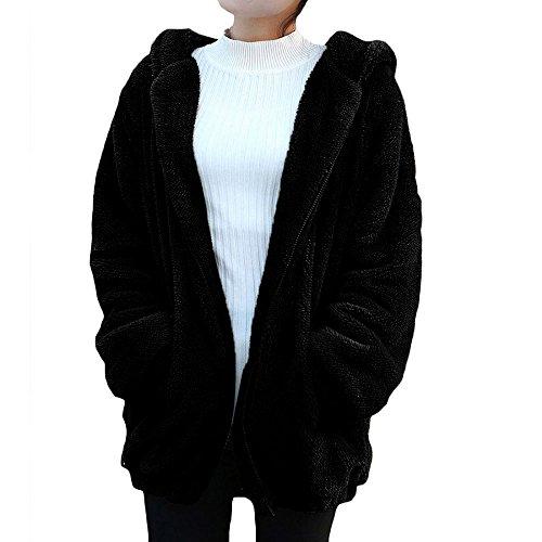 Damen Langarm Mantel Herbst Hoodie Sweatshirts Jacke Fox Ohren Pullover Frauen Langram Bluse Kapuzen Hemd Oberteile Winter Warm Kapuzenpullover Lässig Zipper Mantel Outwear(Orange,S) -