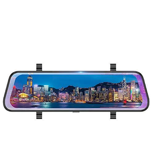 Transmisión de medios del vehículo dashcam, espejo retrovisor Driving Recorder 10 pulgadas de pantalla táctil completa 2.5 D curvado Screen1296P HD visión nocturna de gran angular lente doble