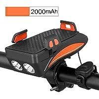 AMYGG Faros de Bicicleta USB Recargables 4 en 1 Luz Delantera de Conducción Multifunción con Soporte para Teléfono Móvil Equipo de Ciclismo Bicicleta Noche de Equitación Carga Tesoro Naranja 2000 mAh