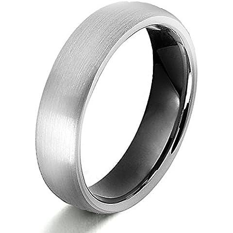 Gemini sposo o sposa due Tone Nero Opaco e polacco Titanio Matrimonio Anello Regalo Di (Titanio 7 Mm Matt)