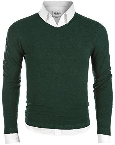 Mocotono Herren Strickpullover Sweatshirts Langarmshirt V-Ausschnitt Dunkelgrün L (5 L-dunkelgrün X)