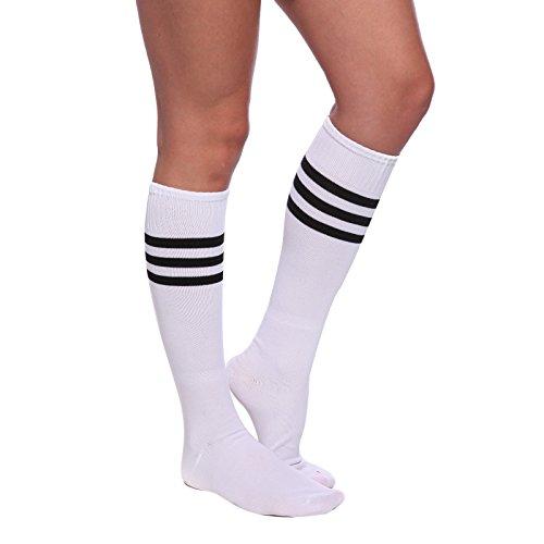 Weiss-Schwarz Damen Maedchen Fussball Stutzen SportSocken Sport Socken Strumpf Stutzenstruempfe Fussballstutzen Sportstruempfe