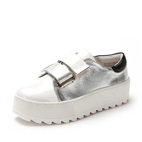 Primavera ed estate moda casual scarpe in vernice/Impunture Velcro alle scarpe con la suola spessa piattaforma/Scarpe sportive Bianco
