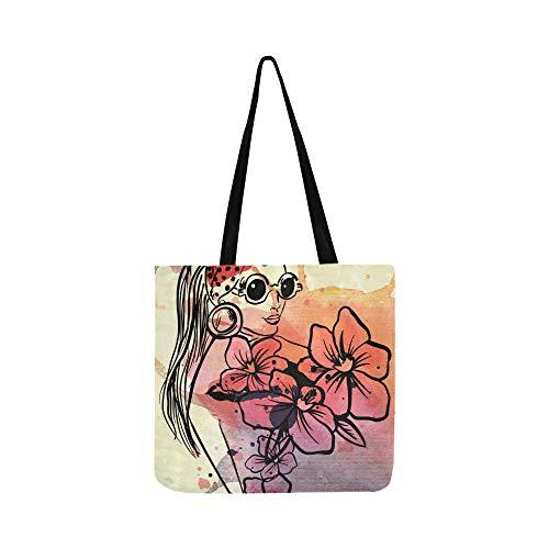 Hippie Frau In Brille Kühle Leinwand Tote Handtasche Schultertasche Crossbody Taschen Geldbörsen Für Männer Und Frauen Einkaufstasche