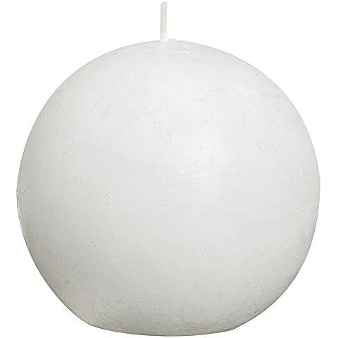 Bolsius - Vela de bola de parafina, rústica, color blanco