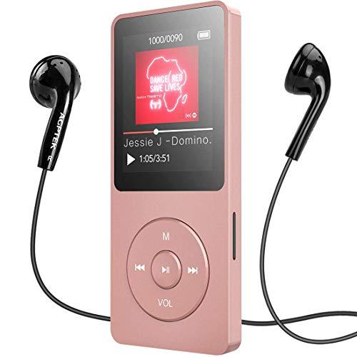 MP3 Player, AGPTEK 16GB Bluetooth 4.0 MP3 Player mit Kopfhörern, 1.8 Zoll 70 Stunden Wiedergabezeit Digital Kinder MP3 Player FM Radio, bis 128G SD Karte, (Verpackung MEHRWEG), Rosegold (Mp3-player Mit Kopfhörer)